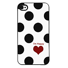 Black Round Dots and Red Heart Pattern Aluminous Hard Case for iPhone 4/4S
