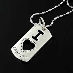 Korean Fashion I Love Rectangular Pendant Necklace(Random Color)