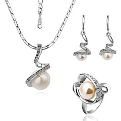 Fashion Spiral Tin Alloy Platinum-plated  Pearl Jewelry Set