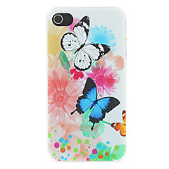 Colorful Butterflies and Opaque Watercolor Painting Pattern Matte Designed PC Hard Case for iPhone 4/4S