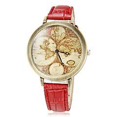 女性のヴィンテージ地図柄ラウンドはPuのバンドクォーツアナログ腕時計(アソートカラー)をダイヤル