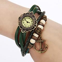 여자의 포도 수확 꽃 PU 악대 석영 아날로그 팔찌 시계 다이얼
