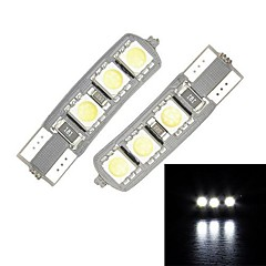 Merdia T10 3.5W 60LM 6x5050SMD lumière LED blanche pour Canbus Decoded Car License Plate Lampe / lampe de lecture (Pair / 12V)