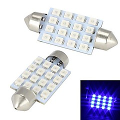 Merdia 3W 300LM Festoon 42mm16x3528SMD LED Blue Light Car Reading Lamp / Brake Light (Pair / 12V)