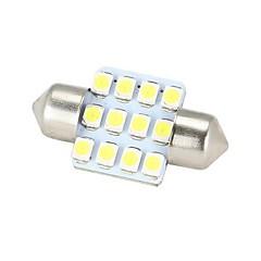 Merdia Festoon 31mm 12x3528SMD LED de luz blanca para la dirección del coche bombilla - (2 PCS / 12V)