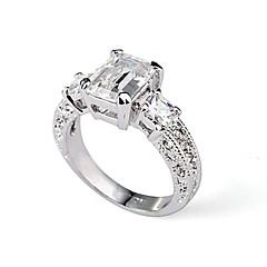 Rectangle Emerald Cut CZ Zircon Engagement Ring