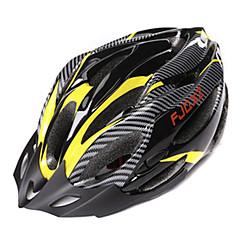 FJQXZ Unisex PC + EPS 21 Vents Nero + Giallo Ajustable Casco da bicicletta