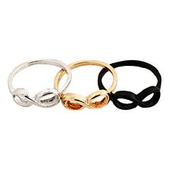 Fashion Pierced 8 Shaped Women's Black Alloy Statement Rings(Black,Silver,Gold)(1 Pc)