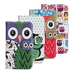 Lovely Cartoon Owl Pattern Faux Leather Flip Case with Card Slots  Closure for  iPhone 4 and 4S