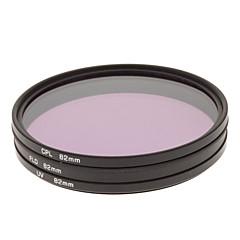 CPL + UV + Filtre FLD Définir pour appareil photo avec filtre Sac (82mm)