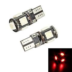 Merdia  T10 5 x 5050 SMD LED Red Light  Decoding for Car License Plate Light / Reading Light (pair / 12V)