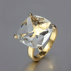 Gift For Girlfriend Fashion Clear Cubic Zirconia Statement Rings(Gold)(1 Pc)