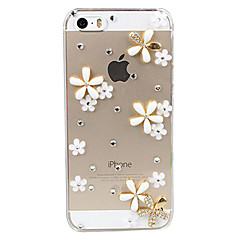 3D Flowers Decorated Transparent Back Case for iPhone 5/5S