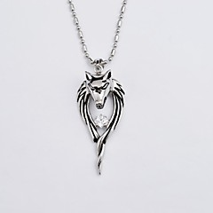 Vintage Wolf Head Antique Silver Stainless Steel Diamonte Pendant Necklace