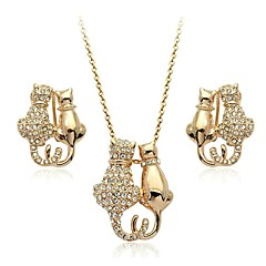 Charm 18K White/Rose Gold Plated Austria Crystal Kitty Cat Pendant Necklace Earrings Sets