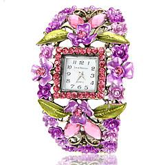 Kvinnors Bohemia Style Purple Flower Square Dial Bronze Alloy kvarts armband klocka