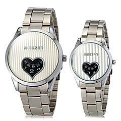 부부의 하트 모양은 둥근 다이얼 합금 밴드 석영 아날로그 패션 시계 (분류 된 색깔)