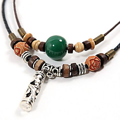 Ethnic Agate With Wood (Silver Cylinder Pendant) Black Fabric Statement Necklace (1 Pc)