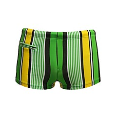 Heren Striped Nylon Spandex gevoerd ritsvak Boxers Swim Shorts
