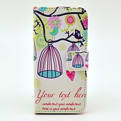 Bird and Birdcages Design Full Body Case with Stand and Card Slot and Money Holder for iPhone 5/5S