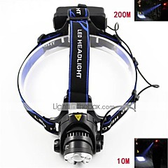 Hovedlygter LED 3 Tilstand 700-900 Lumens Justerbart Fokus / Vanntett / Genopladelig / Strike Bezel / selvforsvar Cree XM-L T6 18650
