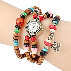 Women's Butterfly Pendant Wooden Stretch Beaded Band Quartz Bracelet Watch