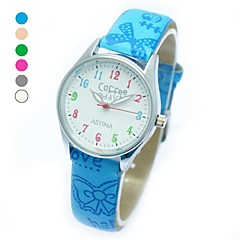 Children's Fashion Round Case PU Band Quartz Wrist Watch (Assorted Colors)