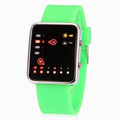 Color brillante banda de silicona reloj de pulsera (colores surtidos) Pantalla LED Binary Unisex