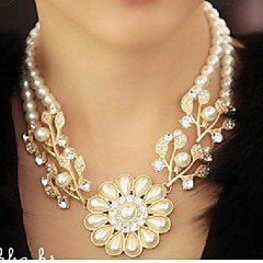 Women's Diamond Pearl Floral Necklace Luxury Rhinestone Pearl Flower Plant Choker Necklace Fashion  Jewelry