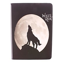 The Black Wolf Pattern PU Full Body Case with Stand for iPad Air