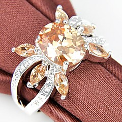 Newest Vintage Champagne Cubic Zirconia Gemstone Silver Ring 1Pc