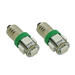 E10 1W 5X5050 SMD Green Lights LED Pære til DIY (DC 12V, 2-pack)