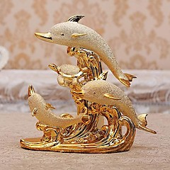Mooie Dolphin Family Image Home Collectibles voor Gift, Vergulde Porselein