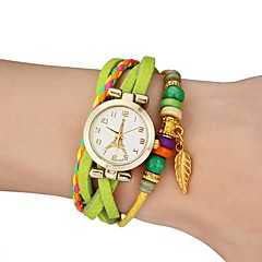 Women's Watch Bohemian Gold Leaf Style Colorful Leather Band