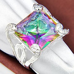 Newest Vintage Rainbow Mystic Topaz Silver Ring 1Pc