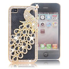 HOHONG (TM) Bling Luxury Black Peacock Case With Rhinestone for iPhone 4 / 4S