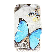 Blue Butterfly Pattern PU Leather Full Body Case with Stand for Nokia Lumia 520