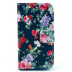 Flowers Bloom in Figure on Black PU Leather Full Body Case for iPhone 4/4S