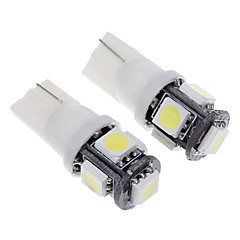 T10 1.5W 5-LED 120LM 6000K Cool White Light LED Bulb for Car(12V,2pcs)