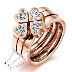 Happiness Clovers Love Triad Set Auger Rose Gold Plated Titanium Steel Ring