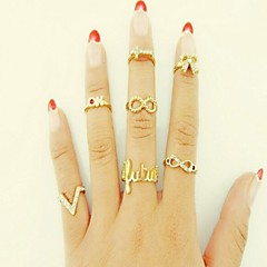 Ring Wedding / Daily Jewelry Alloy / Rhinestone Women Midi Rings 7pcs,One Size Gold