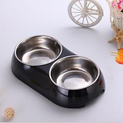 High Quality Piccolo di colore solido melamina Ciotola doppia con piatti Stianless acciaio per Pet Dogs (colori assortiti)