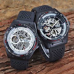 Men's Auto-Mechanical Skeleton Slide Rule Black Silicone Band Wrist Watch (Assorted Colors) Cool Watch Unique Watch