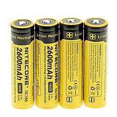 NITECORE NL186 2600mAh18650 batteri (4 stk)