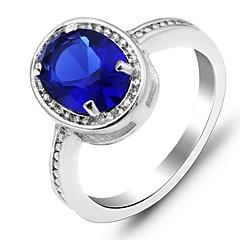 Vintage Ring Blauwe Saffier Zilveren Ring Classic CZ Lady Sapphire Ring voor Vrouwen