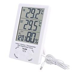 """4.4"""" LCD Indoor Outdoor Digital Temperature Humidity Meter with Probe"""