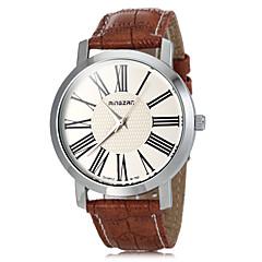 Men's Roman Numerals Dial PU Band Quartz Wrist Watch (Assorted Colors)