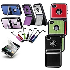 Solid Color Openable Bottom Cover Hard Case with HD Screen Protector and Stylus for iPhone 4/4S (Assorted Colors)