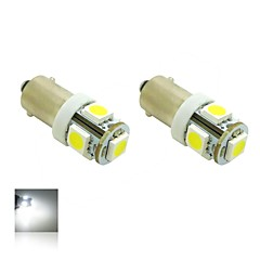 BAX9s H6W 1W 5X5050 SMD White Lights 5500K LED Light Bulb for Car Lamp (DC 12V , 2-Pack)