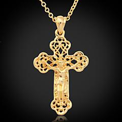 U7® Crucifix High Quality Jeu Cro Pendant 18K Gold Plated Choker Necklace Hollow Cro Fahion Jewelry